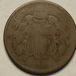 1865 US Two Cent Piece Coin